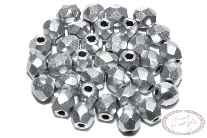 Fire Polish 3mm Matte Metallic Silver