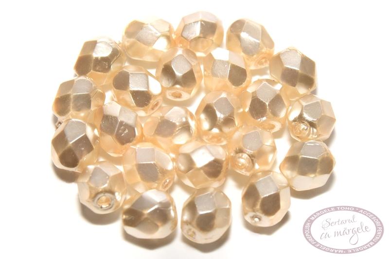 Margele Fire Polish 4mm Crystal Pearl Peach