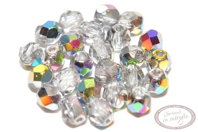 Margele Fire Polish 4mm Crystal Vitral