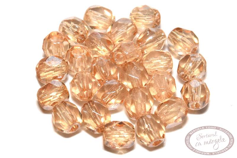 Margele Fire Polish 4mm Luster Transparent Champagne