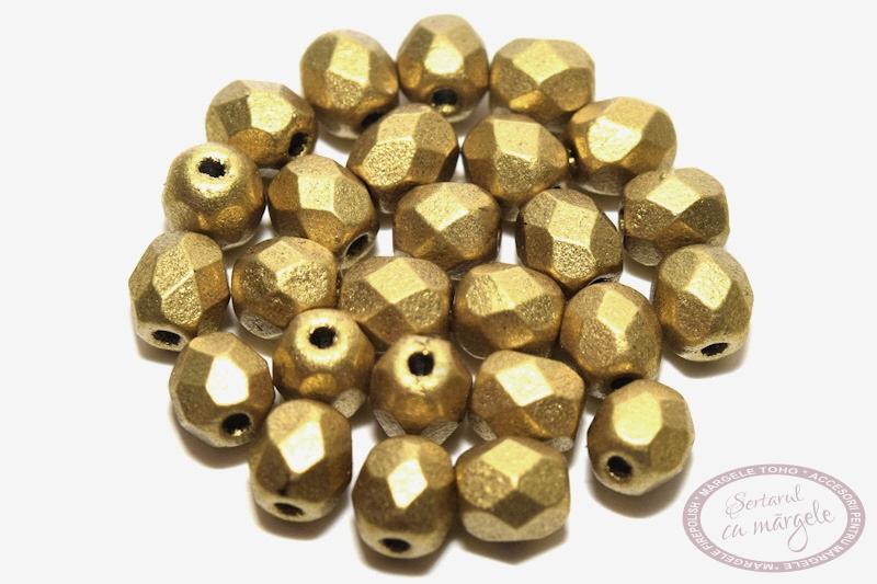 Margele Fire Polish 4mm Matte Metallic Aztec Gold