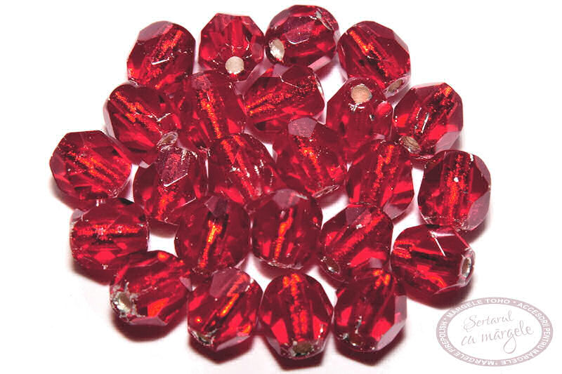 Margele Fire Polish 4mm Silver Lined Siam Ruby