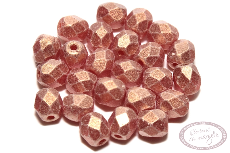 Margele Fire Polish 4mm Sueded Gold Ruby