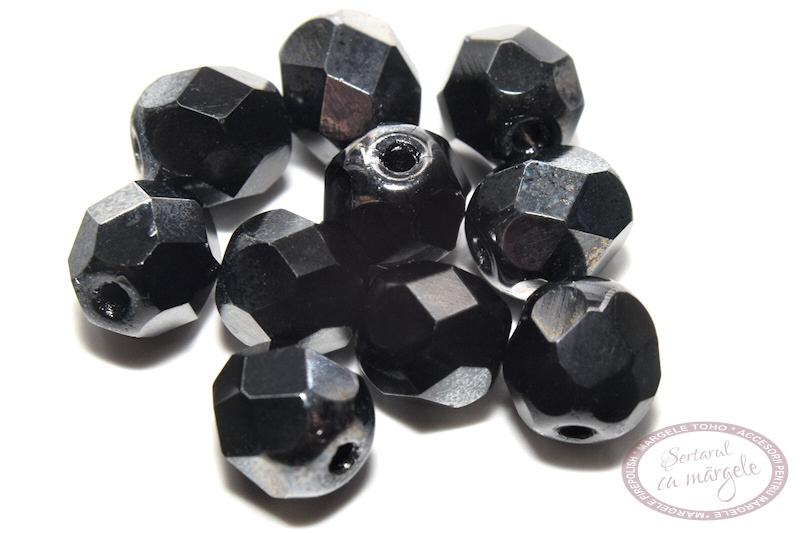 Margele Fire Polish 6mm Hematite 1 2 coating