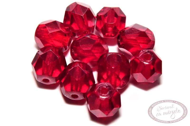 Margele Fire Polish 6mm Siam Ruby