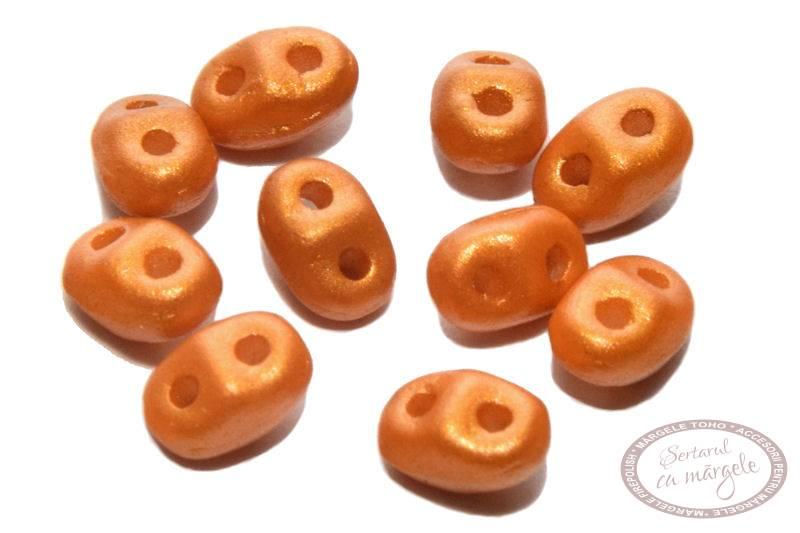Margele MiniDuo 2.5x4mm Gold Shine Orange