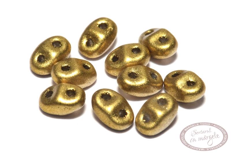 Margele MiniDuo 2.5x4mm Matte Metallic Aztec Gold