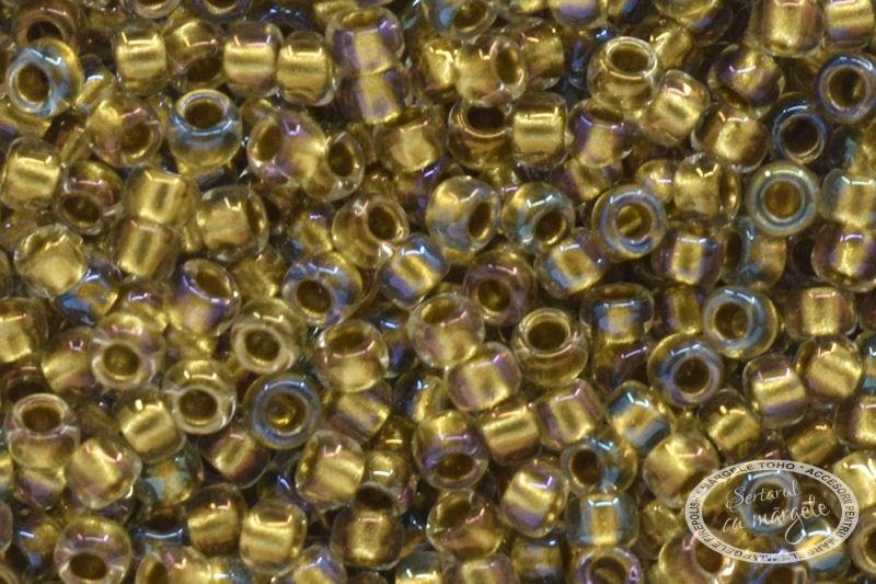 Margele TOHO 15 Inside Color Crystal Gold Lined 1