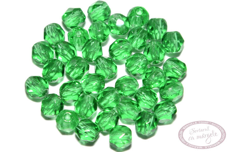Fire Polish 3mm Green Emerald 1