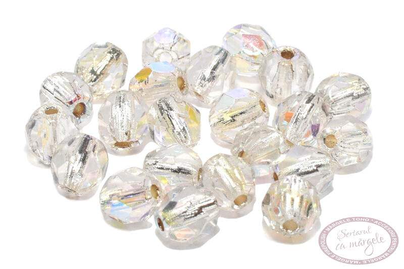 Margele Fire Polish 4mm Crystal AB Silver Lined