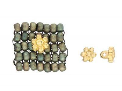 AMOUDI 8/0 - insertie floare 6mm pentru bijuterii, placata cu aur 24K
