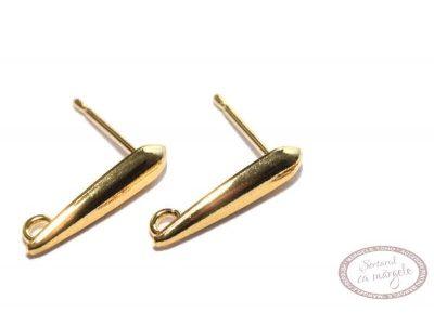 Baza ovala (dagger) pt cercei cu tija si bucla, placata cu aur