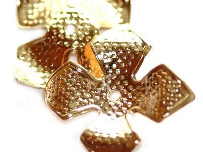 Capacel decorativ trifoi, 14mm, placat cu aur, 10 buc.