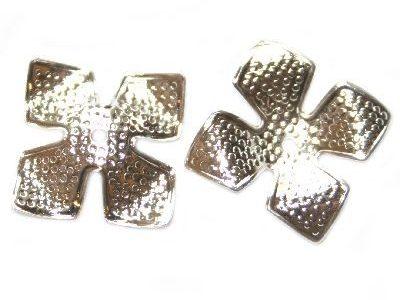 Capacel decorativ trifoi, placat cu argint, 14mm, 10 buc.