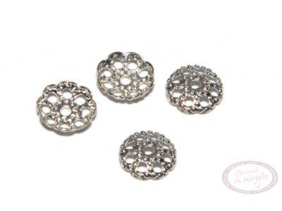 Capacel decorativ placat cu argint, 6.3mm, 10 buc.