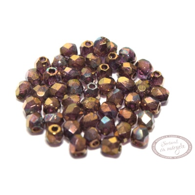 Margele Fire Polish 3mm : Crystal - Bronze Vega, 80 buc