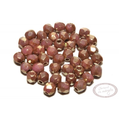 Margele Fire Polish 3mm : Luster - Opaque Rose/Gold Topaz, 80 buc