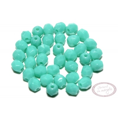 Margele Fire Polish 3mm : Opaque - Turquoise, 80 buc