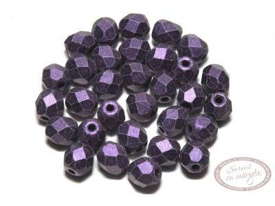 Margele Fire Polish 4mm : Metallic Suede - Purple, 60 buc