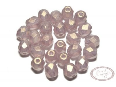 Margele Fire Polish 4mm : Sueded Gold Med Amethyst, 60 buc