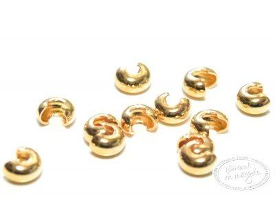 Margele mascare noduri, 3mm, placate cu aur, 12 buc.