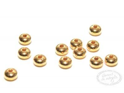 Margele metalice ornamentale 3x2mm, placate cu aur, 12buc.