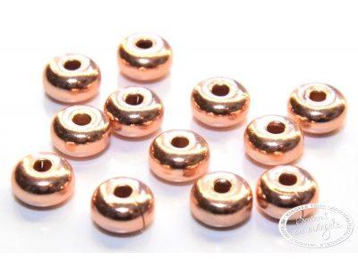 Margele metalice ornamentale, 4.5 x 2.4mm,  placate cu cupru, 12 buc.