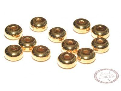 Margele metalice ornamentale 4.5x2.4mm, placate cu aur, 12buc.