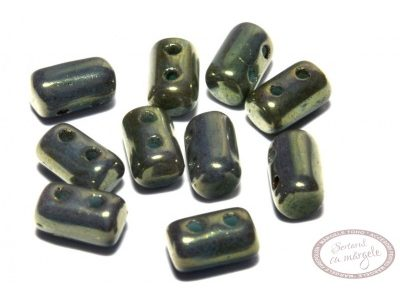 Margele Rulla : 3x5 mm Luster Red - Turquoise Green - 10g