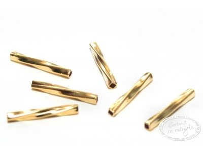 Tub rasucit, 1.2 x 10mm, placat cu aur, 6 buc.